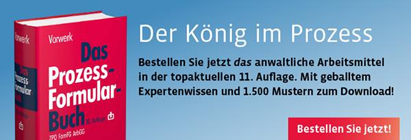 Neuauflage: Vorwerk, Das Prozessformularbuch. Kostenlose Leseprobe online!